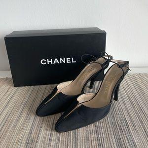 Chanel Silk Crepe Slingback Pumps